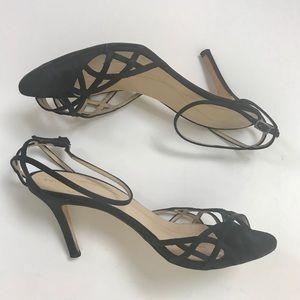 KATE SPADE BLACK satin heels strappy sandals 8/8.5